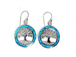 Stunning Blue Opal Tree of life Earrings