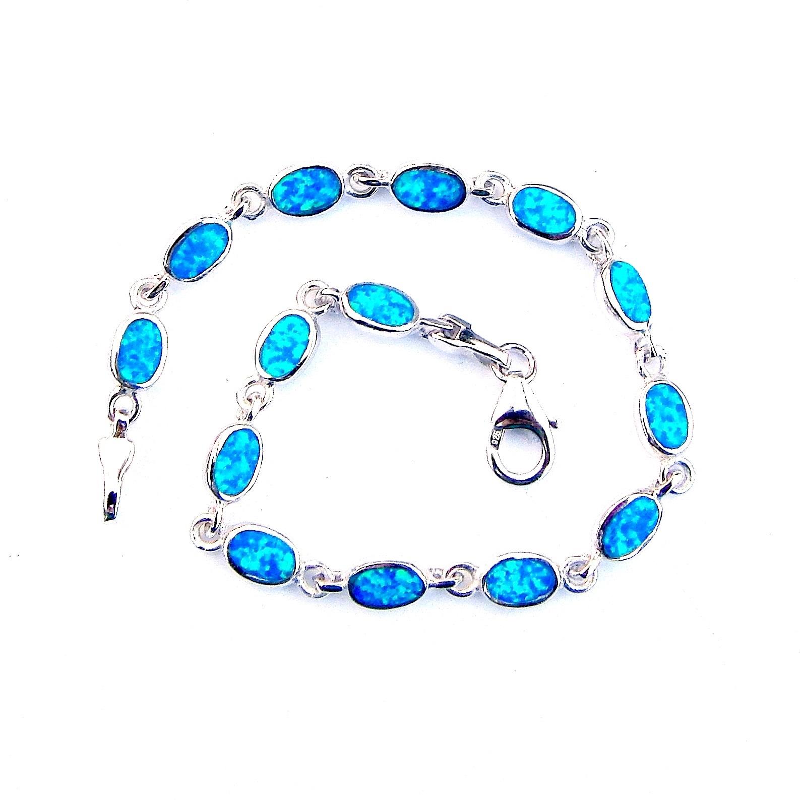 Absolutely Stunning Blue Opal Oval Bracelet
