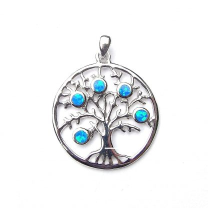 Absolutely Stunning Large Blue Opal Tree of life Pendant