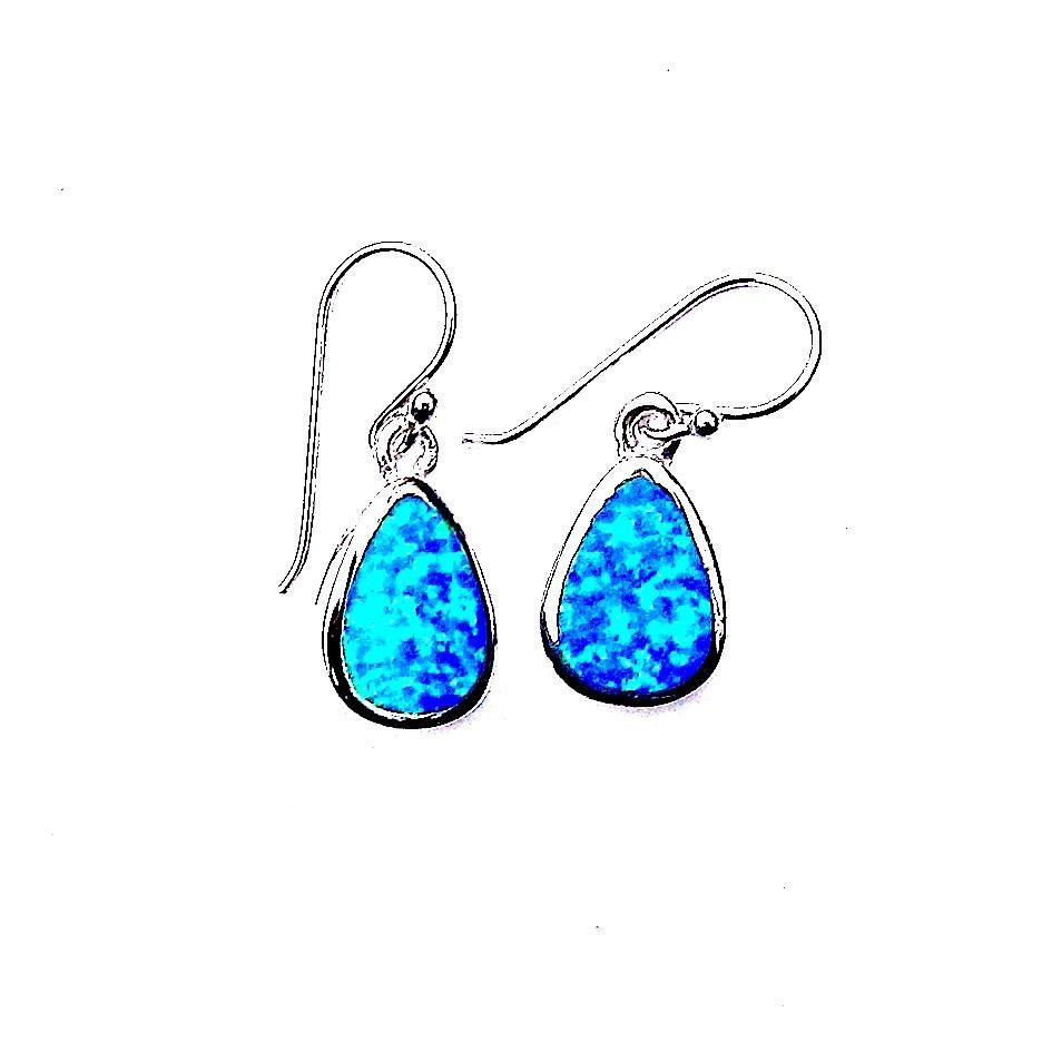 Absolutely Stunning Blue Opal Teardrop Earrings