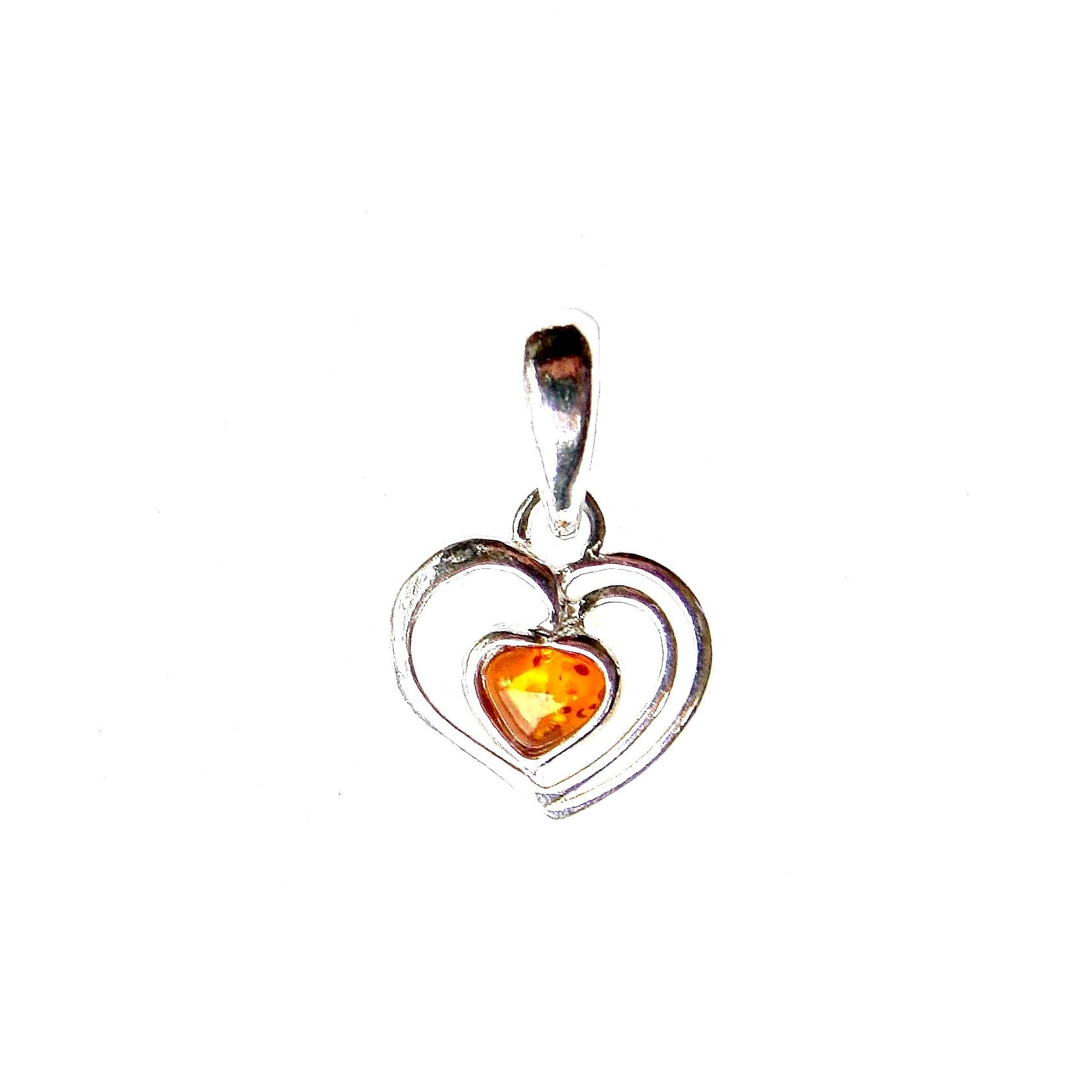 Beautiful Dainty Amber Heart Pendant