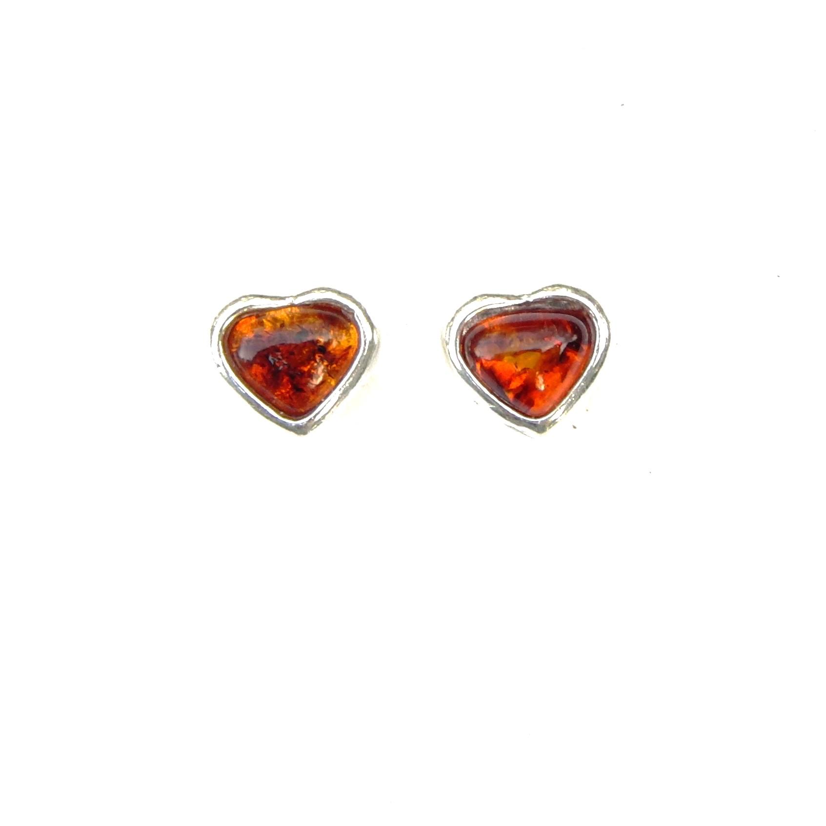 Dainty Amber Heart Studs