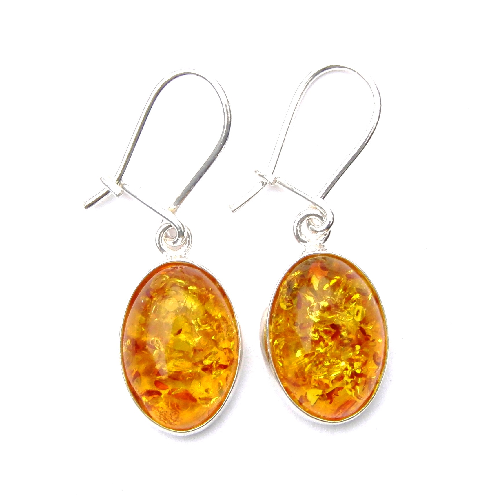Stunning Large Amber Oval Cab Earrings