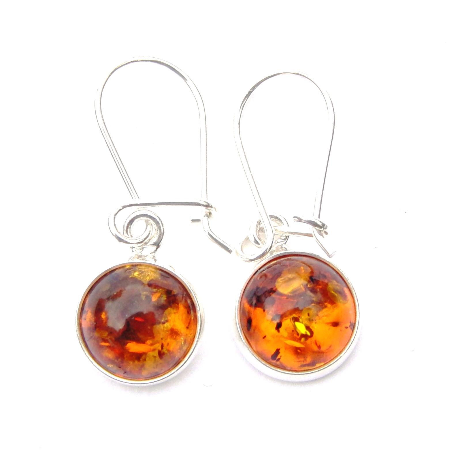 Beautiful Amber Round Earrings