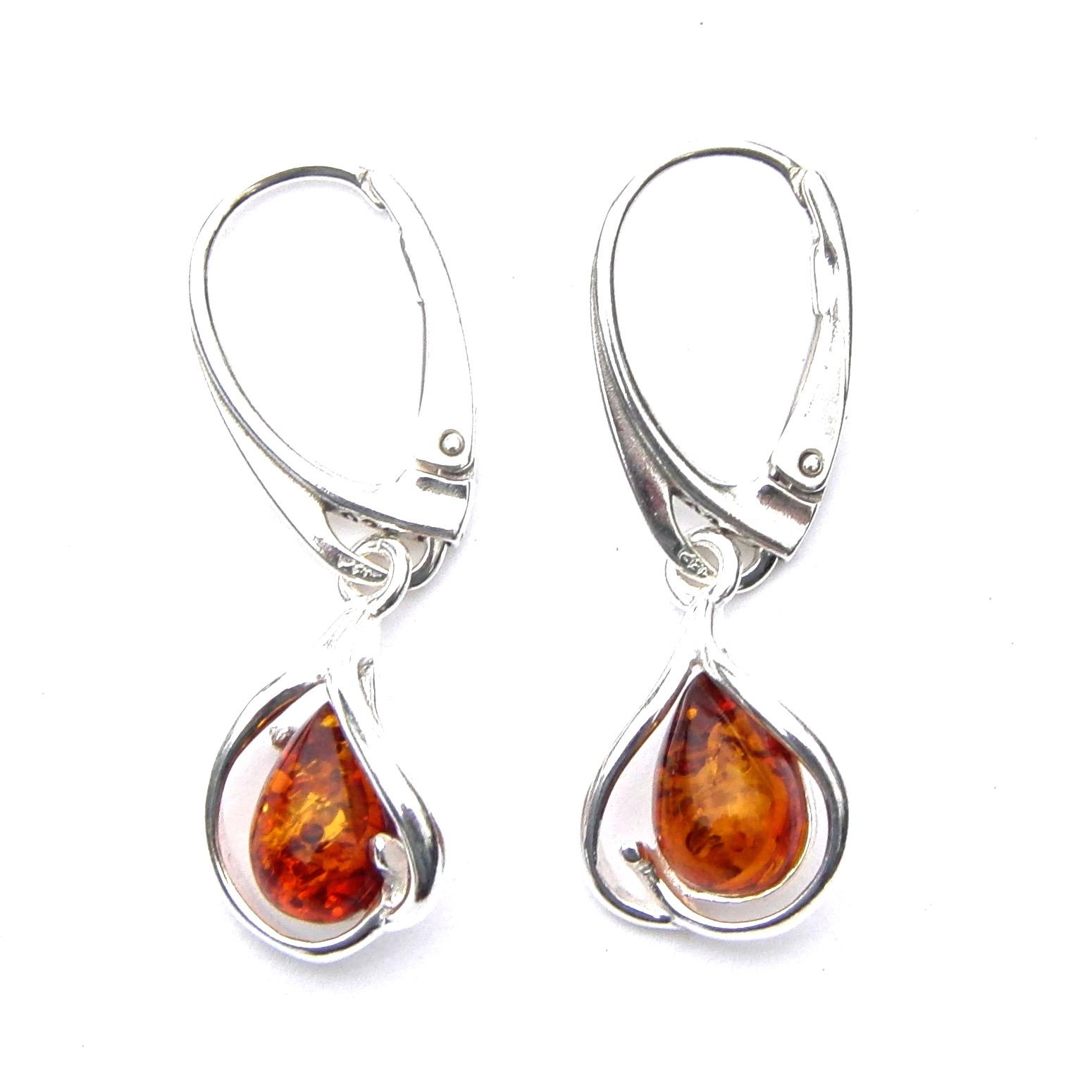 Beautiful Amber Teardrop Earrings