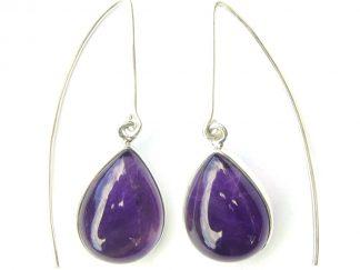 Amethyst Long Hook Earrings