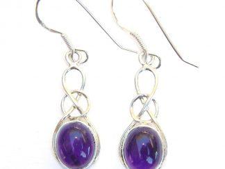 Amethyst Oval Knot Earrings.