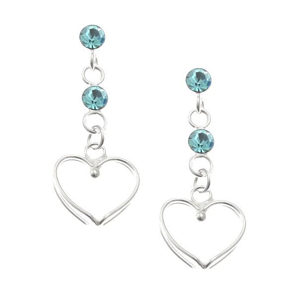 Blue Crystal Heart Studs