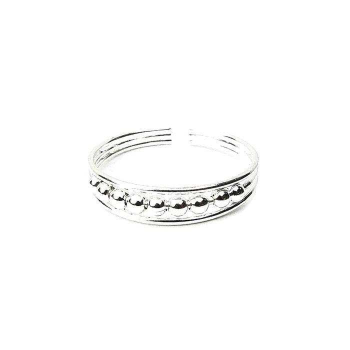 Beautiful Beaded Silver Toe Ring