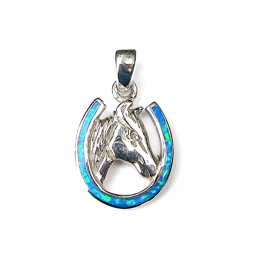 Absolutely Beautiful Blue Opal Horse Pendant