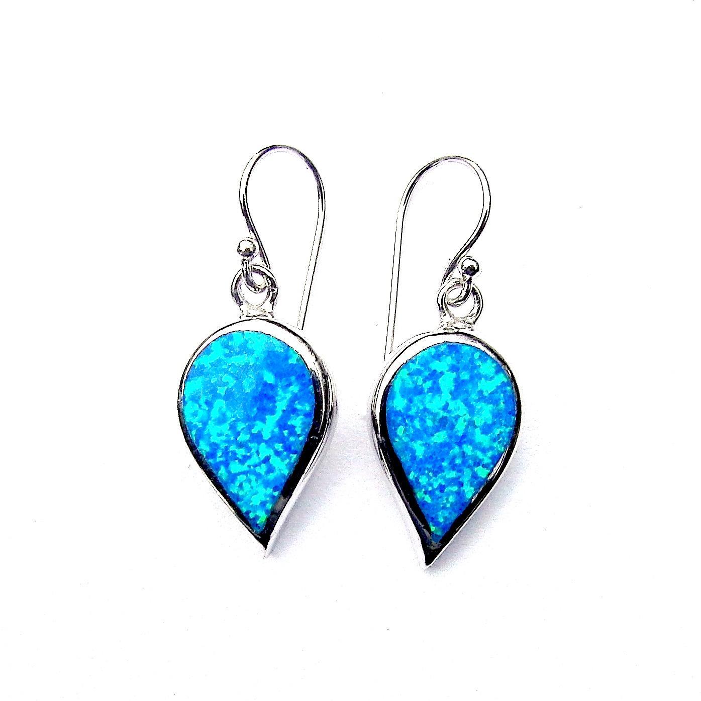 Beautiful Blue Opal Large Inverted Teardrop Earrings
