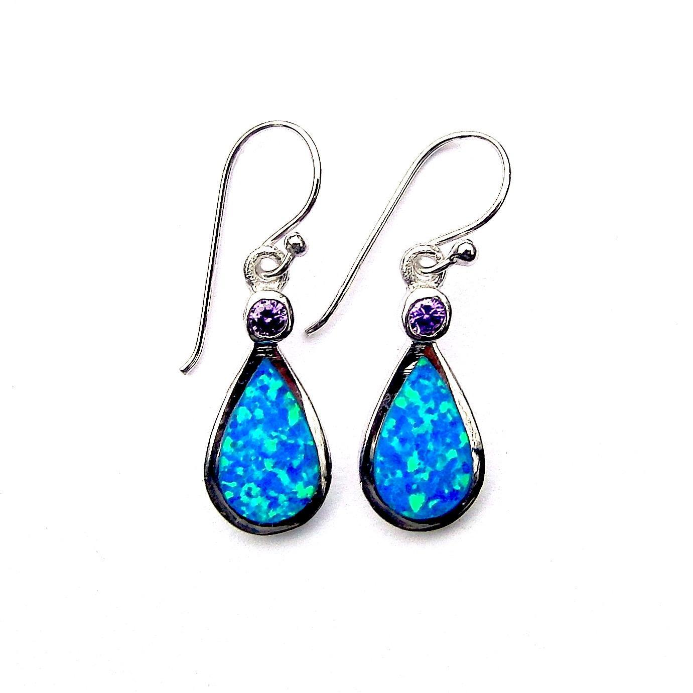 Beautiful Blue Opal and Amethyst Teardrop Earrings