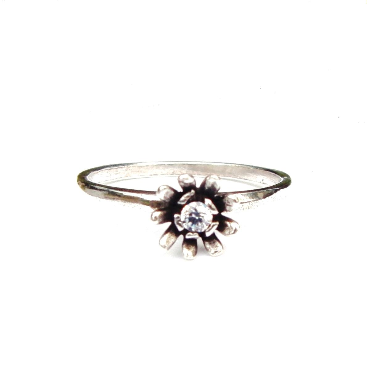 Beautiful Crystal Flower Silver Stacking Ring