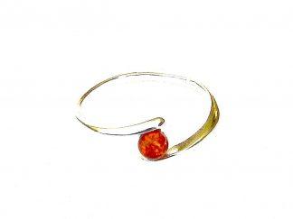 Beautiful Dainty Silver Amber Ring