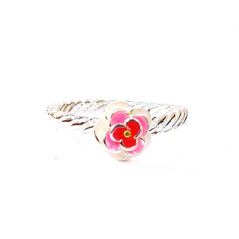 Beautiful Enameled Flower Silver Ring