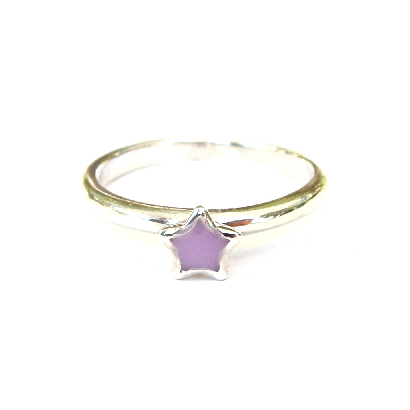 Beautiful Mauve Star Silver Stacking Ring
