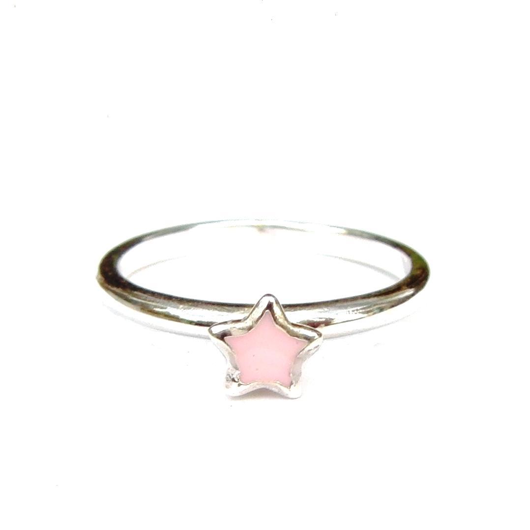 Beautiful Pink Star Silver Stacking Ring