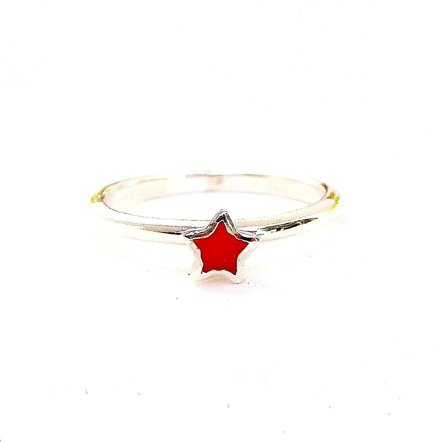 Beautiful Red Star Silver Stacking Ring