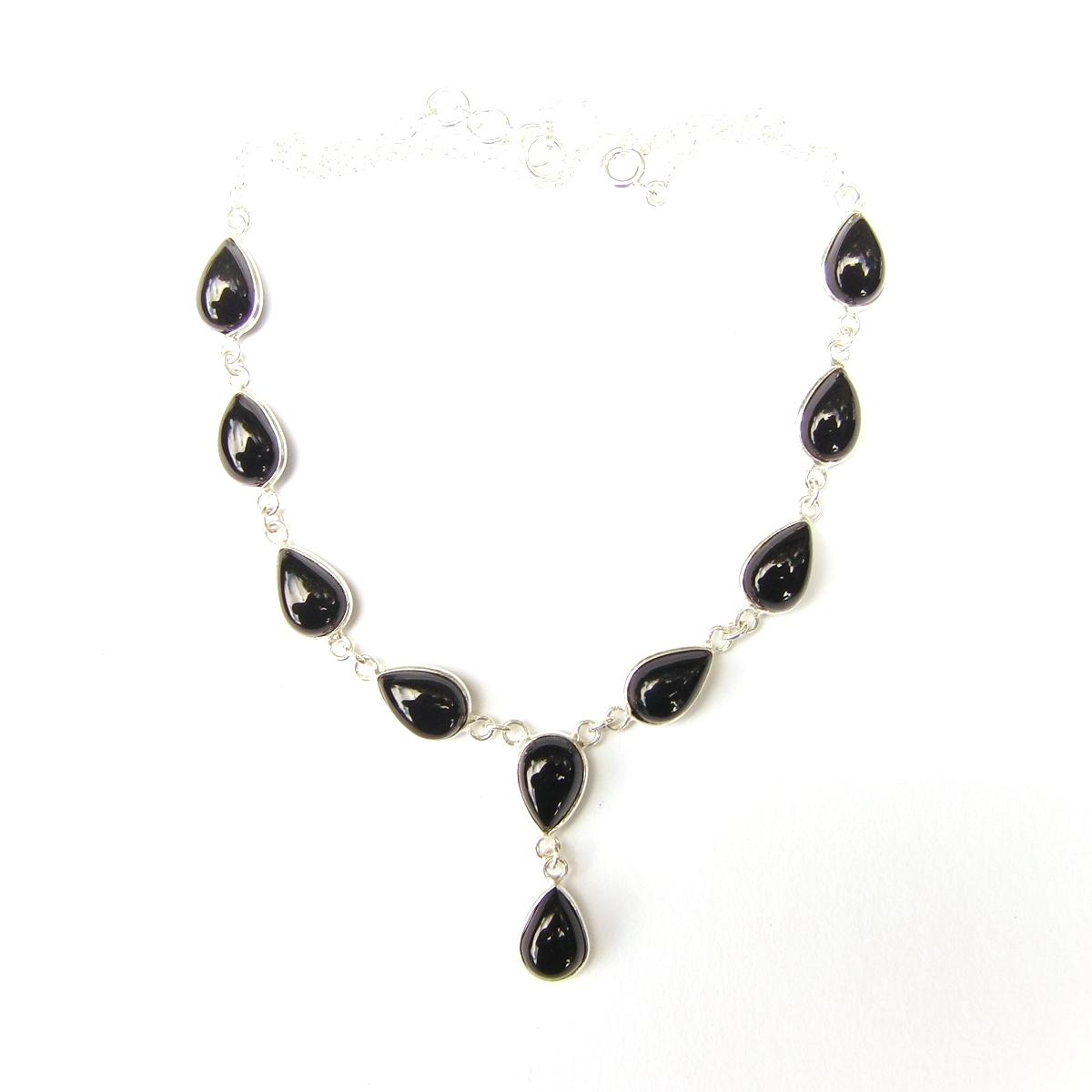Black Onyx Large Teardrop Necklace.
