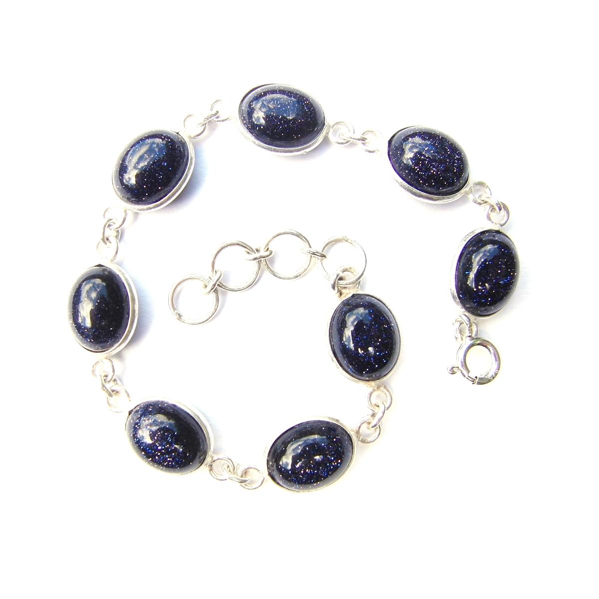 Blue Goldstone Oval Bracelet.