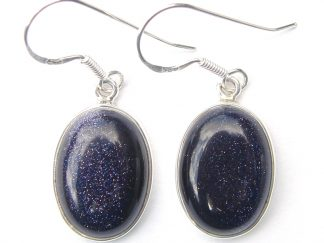 Blue Goldstone Large Cab Earrings.