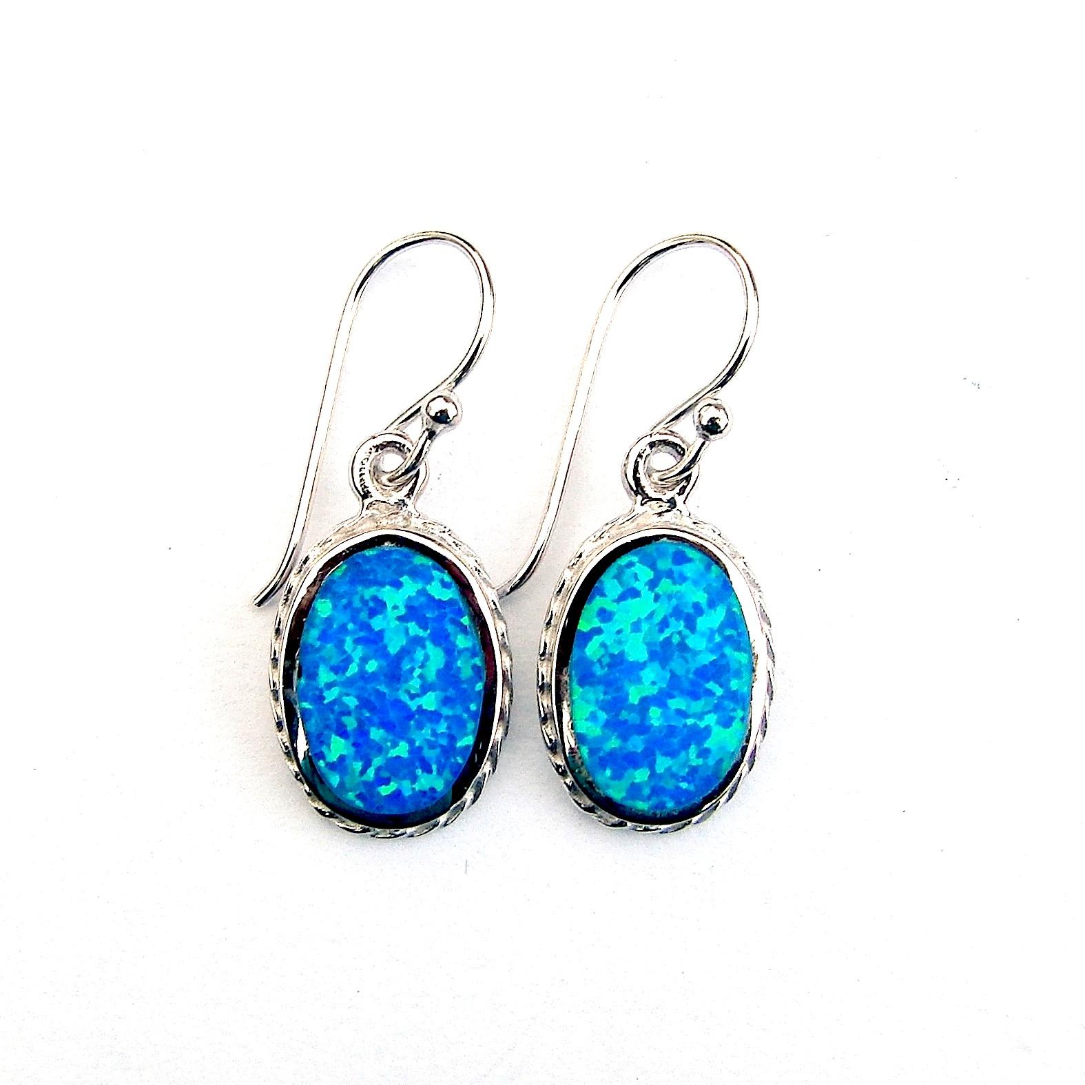 Beautiful Decorative Blue Opal Oval Earrings