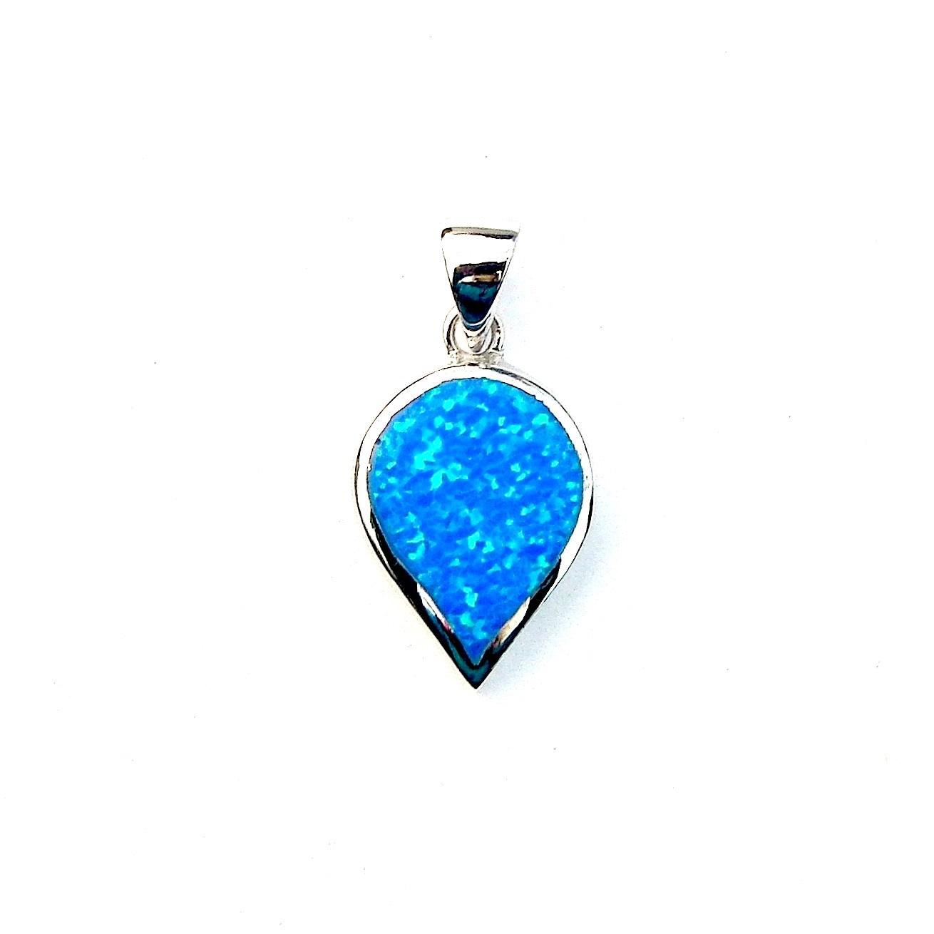 Beautiful Blue Opal Inverted Teardrop Pendant