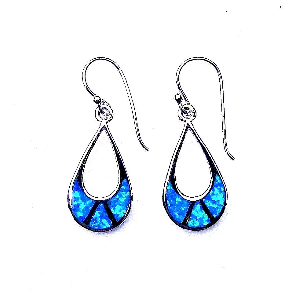 Stunning Large Blue Opal Teardrop Outline Earrings
