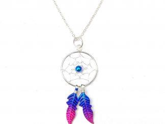 Beautiful Magenta Dreamcatcher Necklace