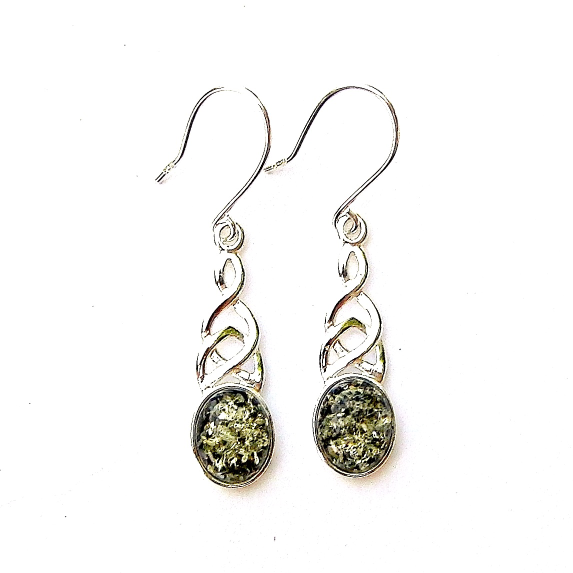 Beautiful Green Amber Celtic Knot Earrings