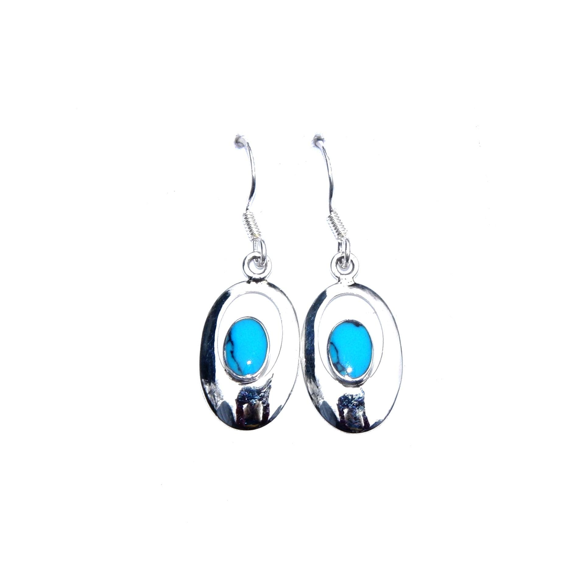 Beautiful Turquoise Oval Outline Earrings