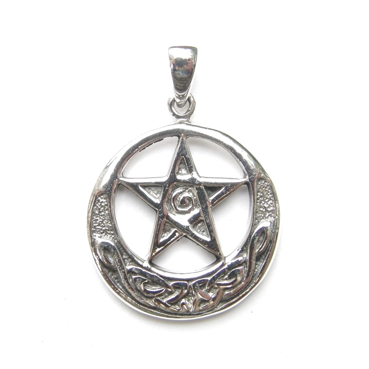 Silver Medium Celtic Pentagram Pendant