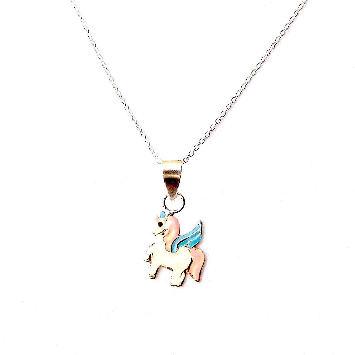 Enameled Child's Unicorn Necklace