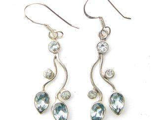 Faceted Blue Topaz Drop Earrings.