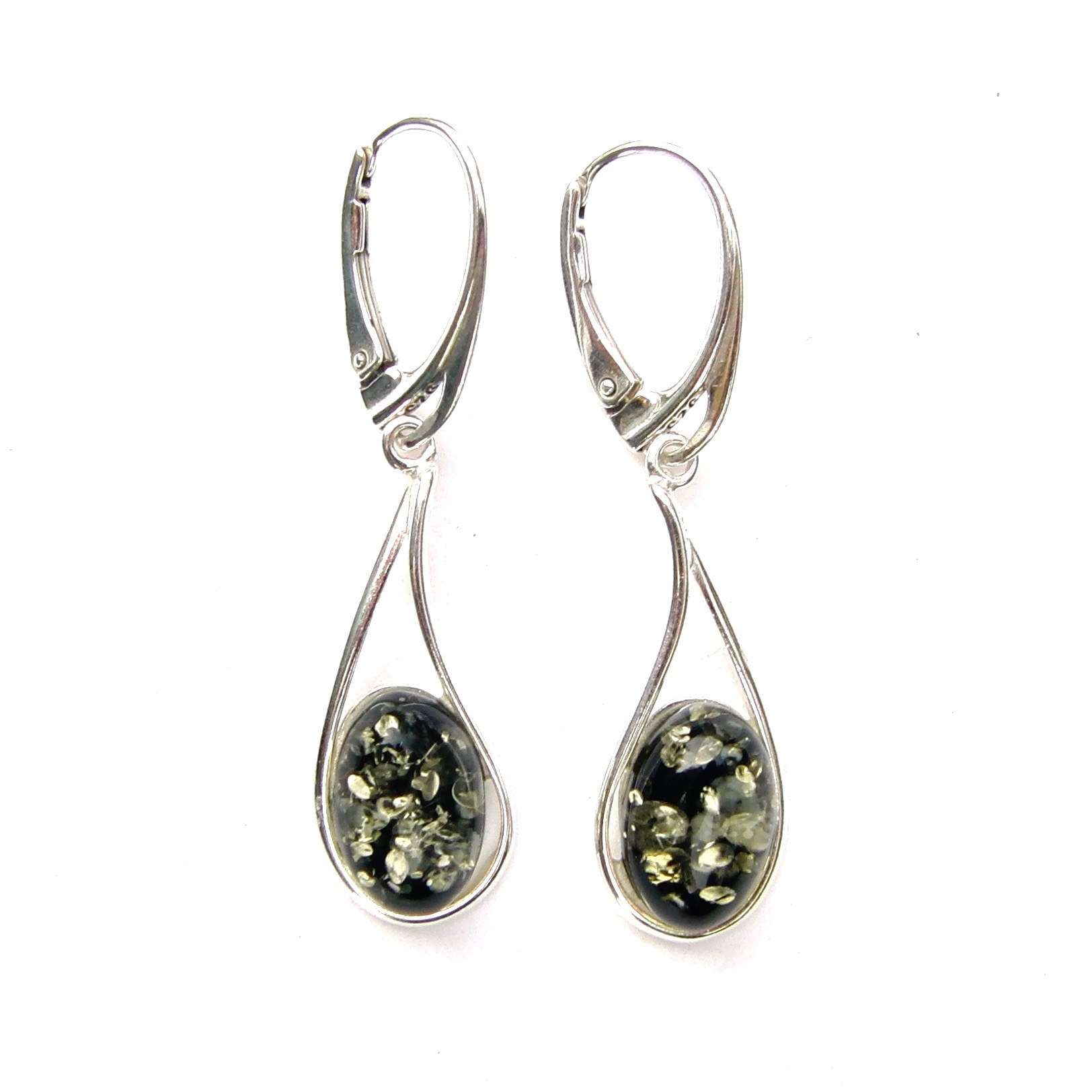 Stunning Large Green Amber Oval Earrings