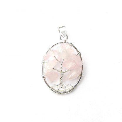 Beautiful Oval Rose Quartz Tree of Life Pendant