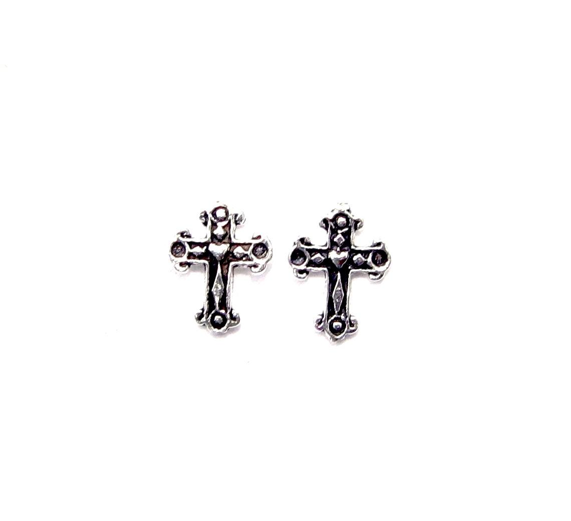 Pretty Silver Cross Studs