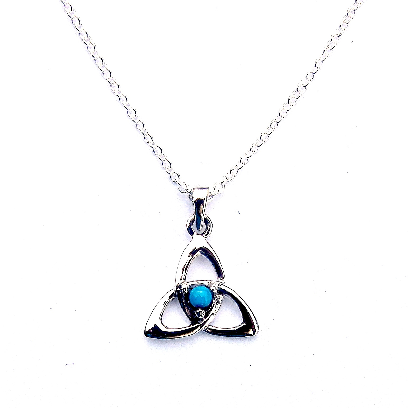 Pretty Turquoise Goddess Triquetra Necklace
