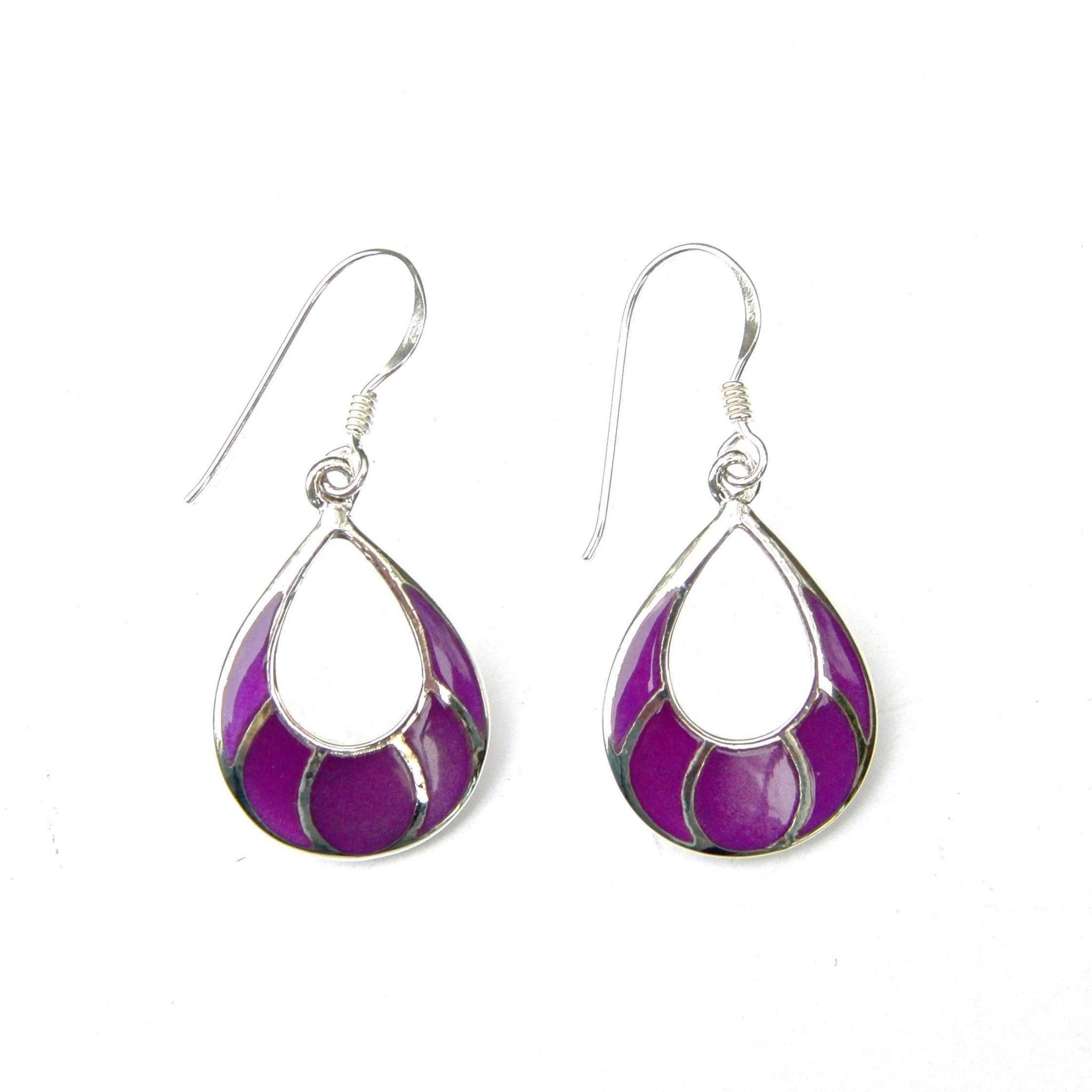 Beautiful Purple Shell Silver Earrings
