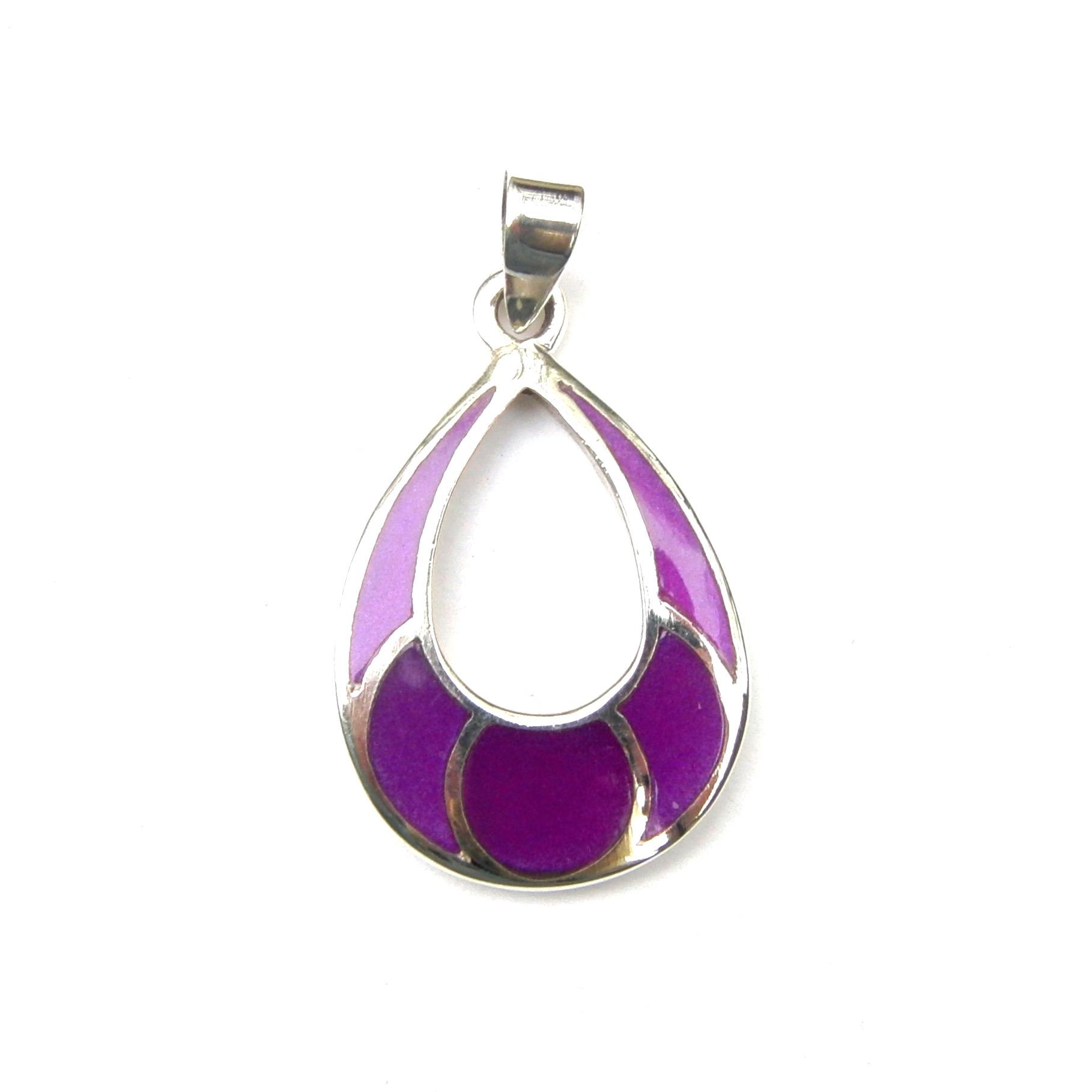 Beautiful Purple Shell Silver Pendant