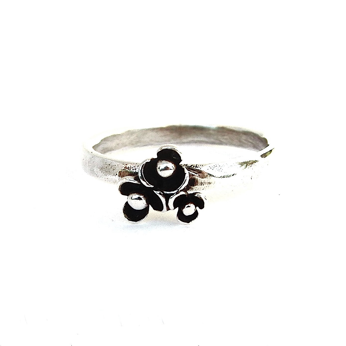 Triple Flower Silver Stacking Ring