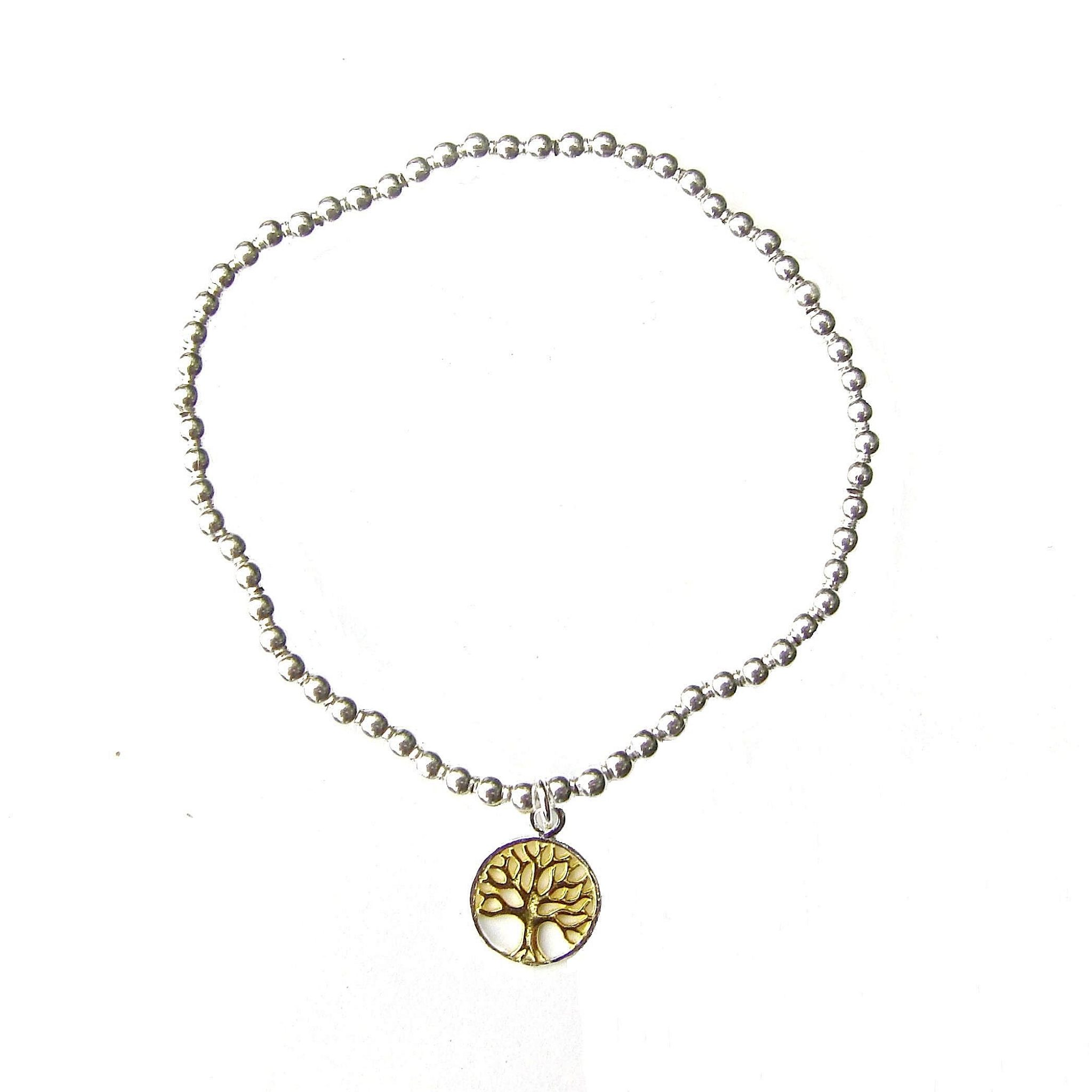 Two Tone Tree of Life Silver Charm Bracelet